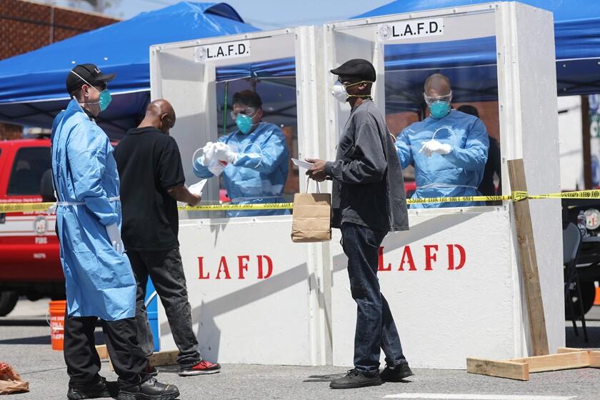 Coronavirus Testing Takes Place On L.A.'s Skid Row