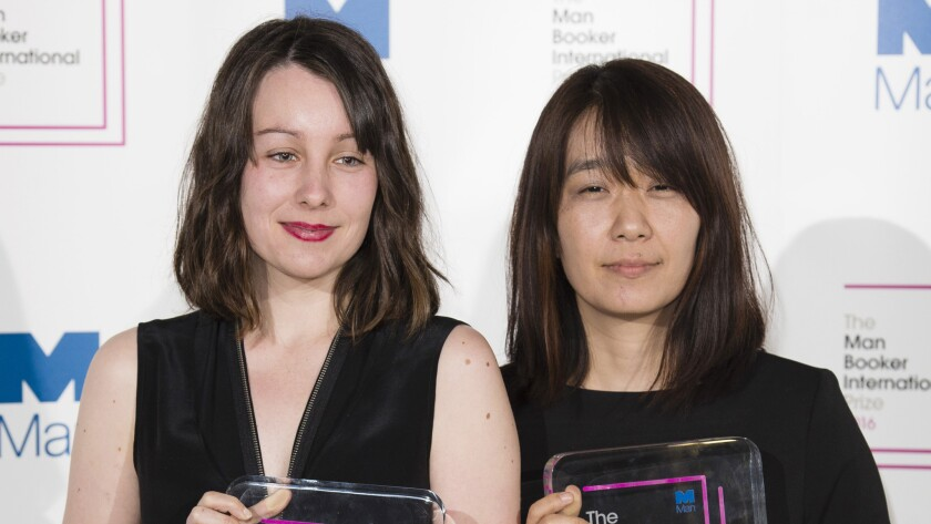 Translator Deborah Smith, left and author Han Kang, winners of the Man Booker International Prize.