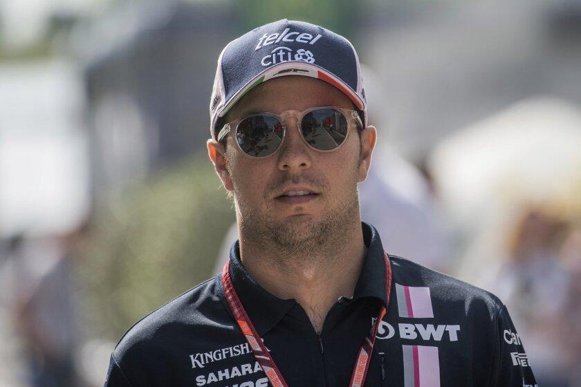 El piloto mexicano Sergio Pérez del equipo Force India previo a los entrenamientos del Gran Premio de Hungría de la Fórmula Uno, el viernes 27 de julio de 2018.