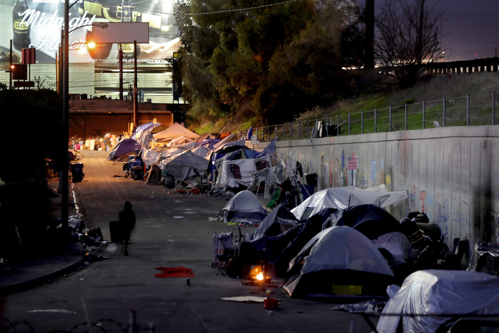 A homeless encampment near Los Angeles International Airport.