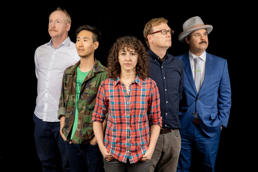 LOS ANGELES, CA--JUNE 19, 2019--Matt Walsh, Will Choi, Beth Appel, Andy Daly and Paul F. Tompkins, a