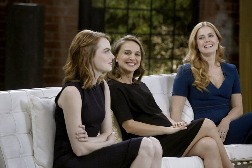 Emma Stone, Natalie Portman and Amy Adams at The Envelope's lead actress roundtable.
