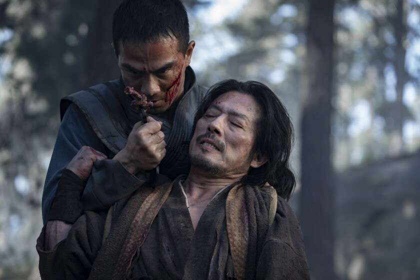 "Joe Taslim battles Hiroyuki Sanada in the opening scenes of ""Mortal Kombat."""