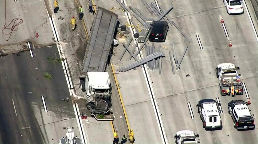 A big rig crash prompted officials to close several lanes of the 405 Freeway near the 710.