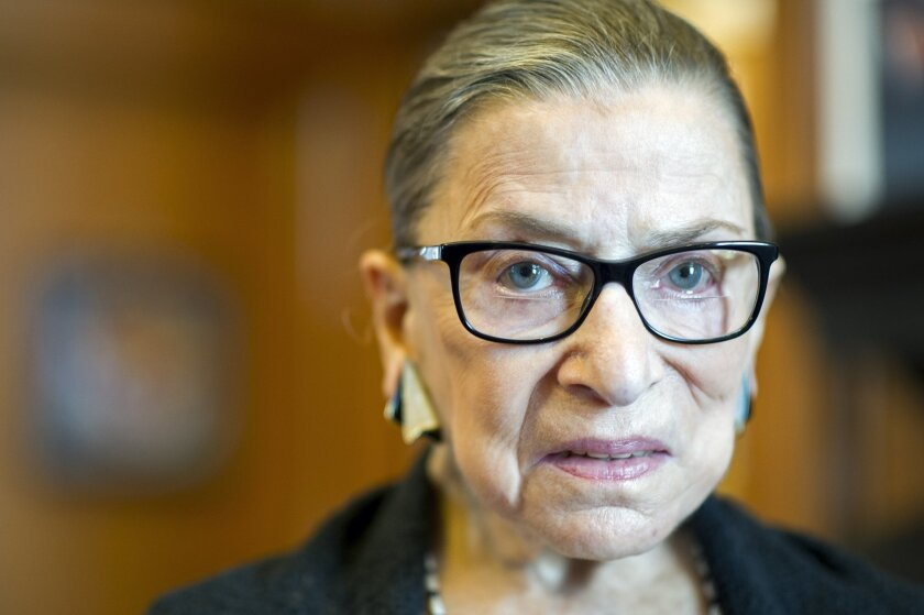 This file photo shows Supreme Court Justice Ruth Bader Ginsburg in her Supreme Court chambers in Washington.