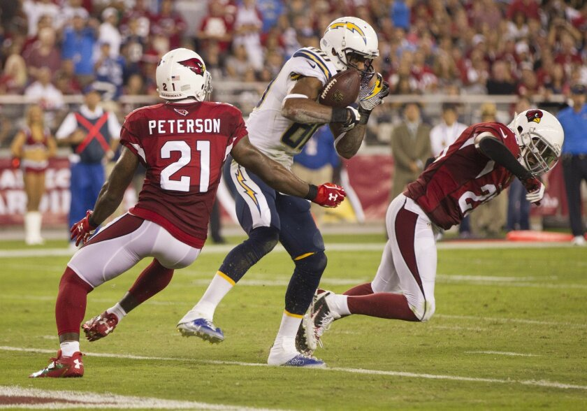 The San Diego Chargers vs The Arizona Cardinals at University of Phoenix Stadium. Malcom Floyd in for a TD on a 6 yard pass play in the third quarter.