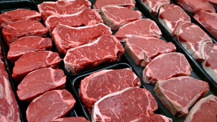 FILE - In this Jan. 18, 2010 file photo, steaks and other beef products are displayed for sale at a