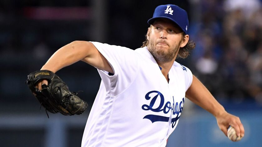 LOS ANGELES, CALIFORNIA MAY 23, 2017-Dodgers Clayton Kershaw throws a pitch against the Cardinals in