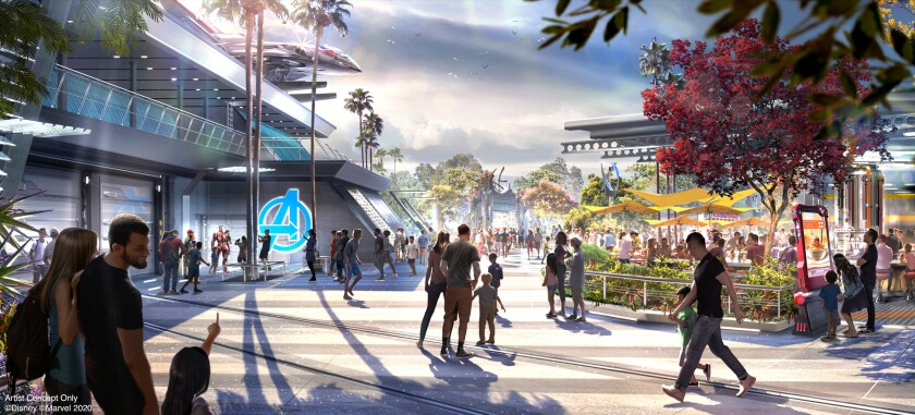 Avengers Campus, coming this summer to Disney California Adventure Park in Anaheim, is a new land dedicated to finding and training the next generation of superheroes. At right, the outdoor eating area at Pym Test Kitchen with a view of nearby Avengers Headquarters.