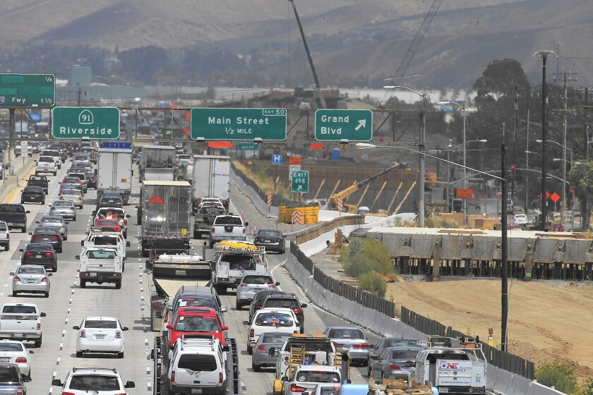 A view of construction on the 91 Freeway between the 55 Freeway in Orange County and the 15 Freeway in Riverside County in July.