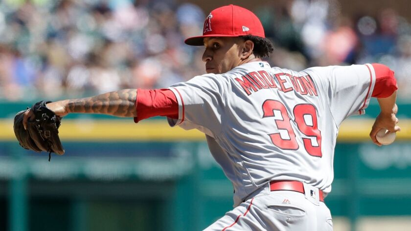 Angels reliever Keynan Middleton throws against the Detroit Tigers in June 2017.