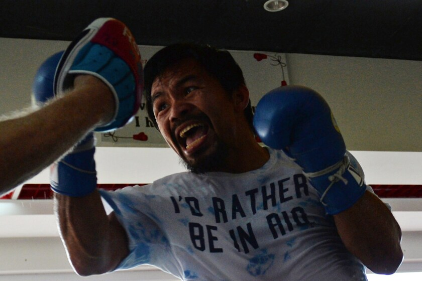 Manny Pacquiao trains at a gym in General Santos, Philippines, on Feb. 15.