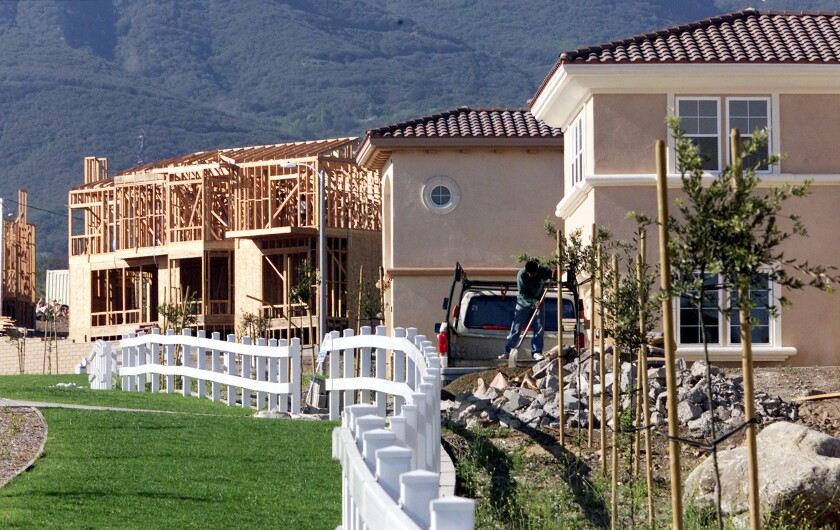 A new report from Beacon Economics and City National Bank points to a comeback in the Inland Empire. Above, homes being built in Rancho Cucamonga.