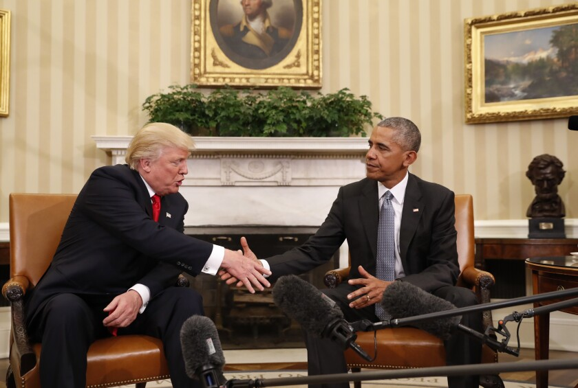 President Obama shakes hands with President-elect Donald Trump in the Oval Office on Nov. 10, 2016.