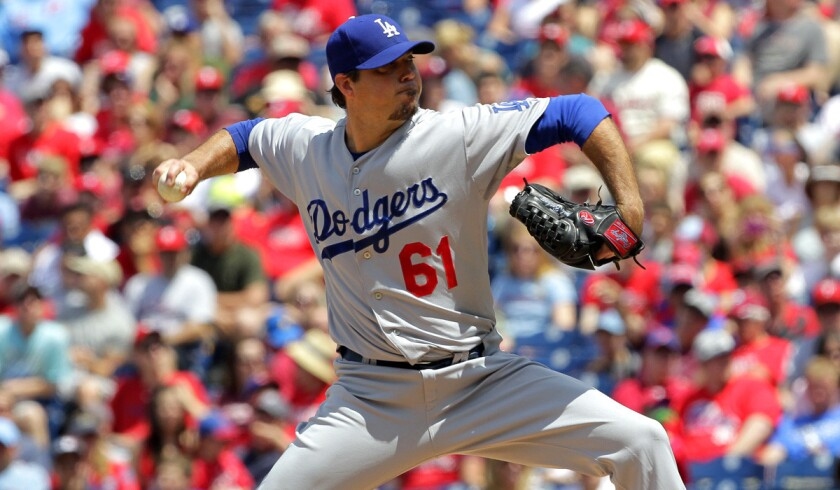 Dodgers pitcher Josh Beckett threw a no-hitter against the Phillies on Sunday in Philadelphia, improving to 3-1 this season and lowering his earned-run average to 2.43.