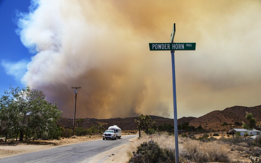 Mandatory evacuations are ordered for Burns Canyon Road as the Lake fire burns closer to Morongo Valley and Pioneertown on June 25.
