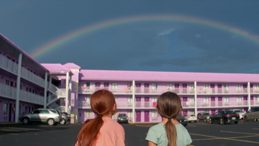 """Brooklynn Prince and Valeria Cotto in """"The Florida Project"""" movie. Photo by Marc Schmidt, courtesy o"""