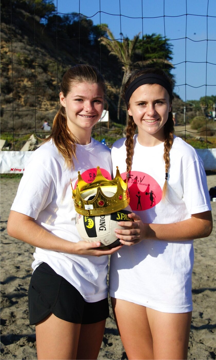FAV founders Kiara McNulty and Sophia LeRose at their second Queen of the Beach volleyball tournament on Dec. 6.