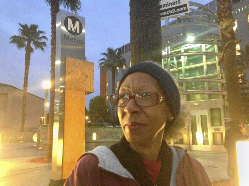 Cathy Youngblood has a long trip on public transit before she gets to her hotel housekeeping job in West Hollywood.