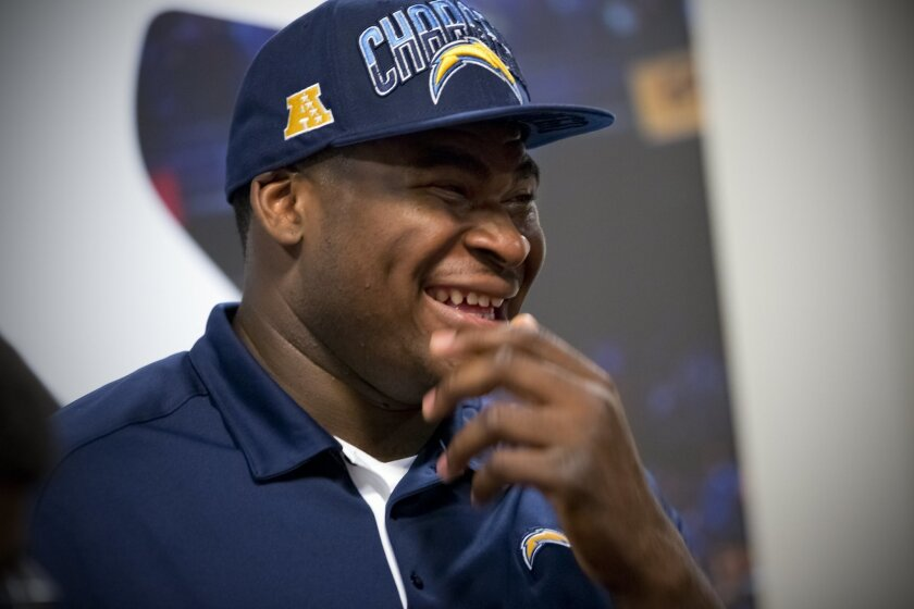 During Saturday's press conference at chargers Park, D.J. Fluker enjoyed a brief laugh as good friend and now teammate, Manti Te'o commented on the frequency of calls D.J. makes to him.