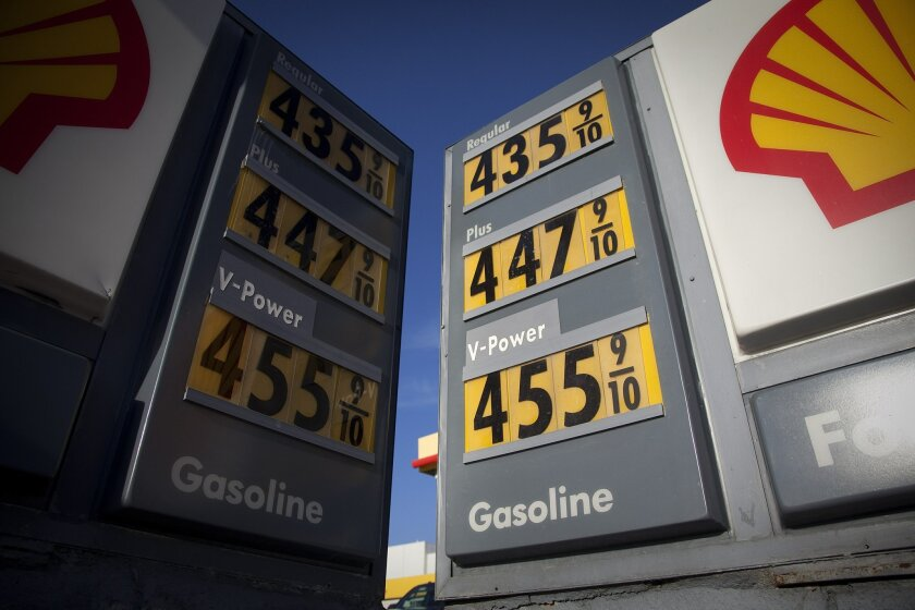 Gas prices at the Shell station at Pacific Highway and Laurel near the Lindbergh Field.