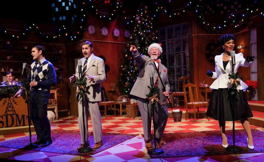 "Eric Hellmers, Matthew Malecki, Jim Chovick and Janaya Jones (from left) in ""Miracle on 34th Street: A Live Musical Radio Play."""