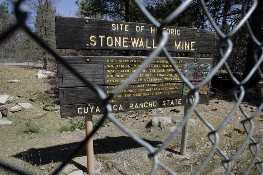 Cuyamaca Rancho State Park, Stonewall Mine