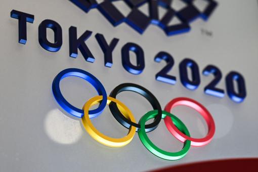 لوگوی بازی های المپیک 2020 توکیو در توکیو در 28 ژانویه 2021 قابل مشاهده است.