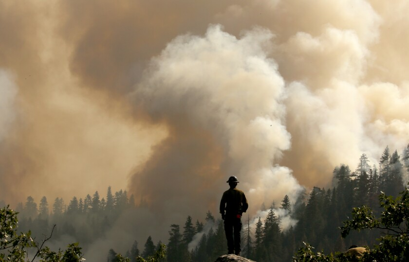 A firefighter looks out over a forest, where smoke rises from the Dixie fire.