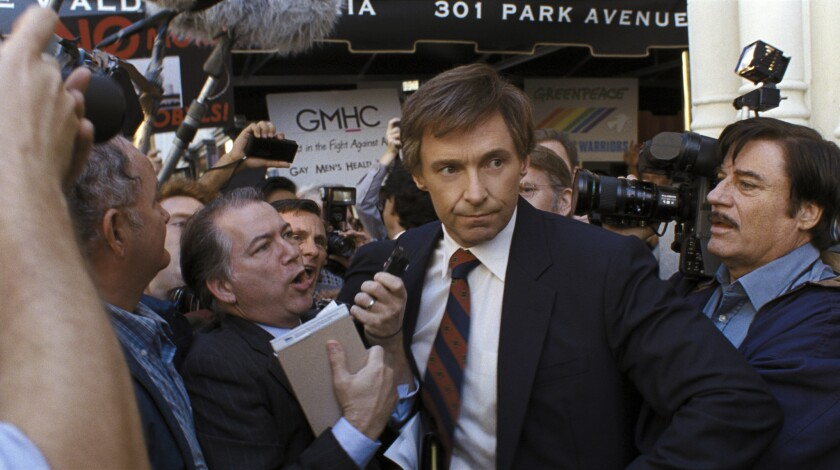 """This image released by Sony Pictures shows Hugh Jackman in a scene from """"The Front Runner,"""" in theat"""