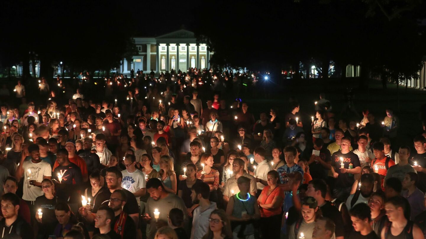A candlelight vigil at the University of Virginia on Wednesday night.