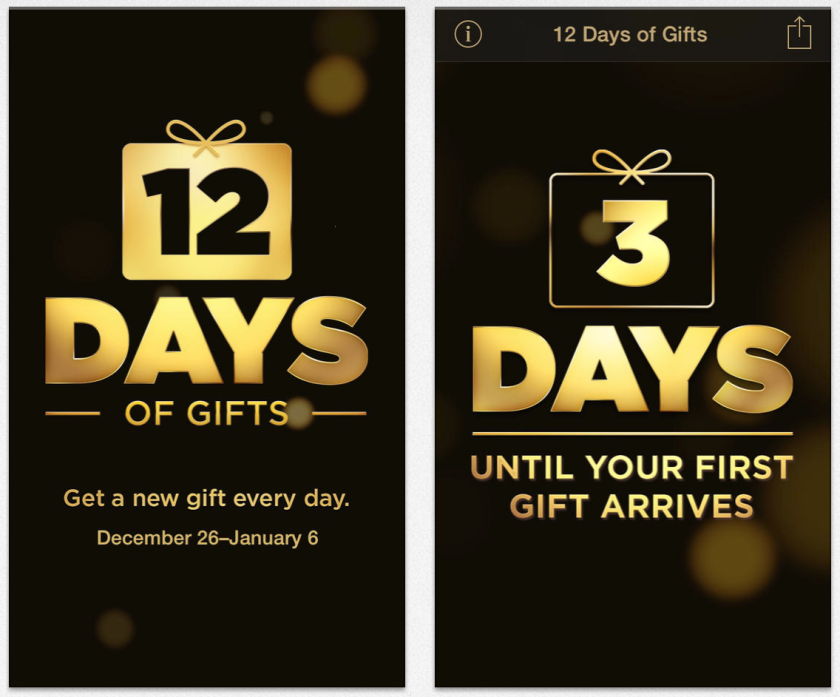 """An online announcement of Apple's """"12 Days of Gifts."""""""