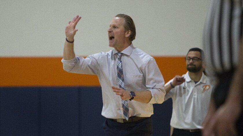 Pacifica Christian High head coach Jeffrey Berokoff calls a play during the first half against Foothill Tech.