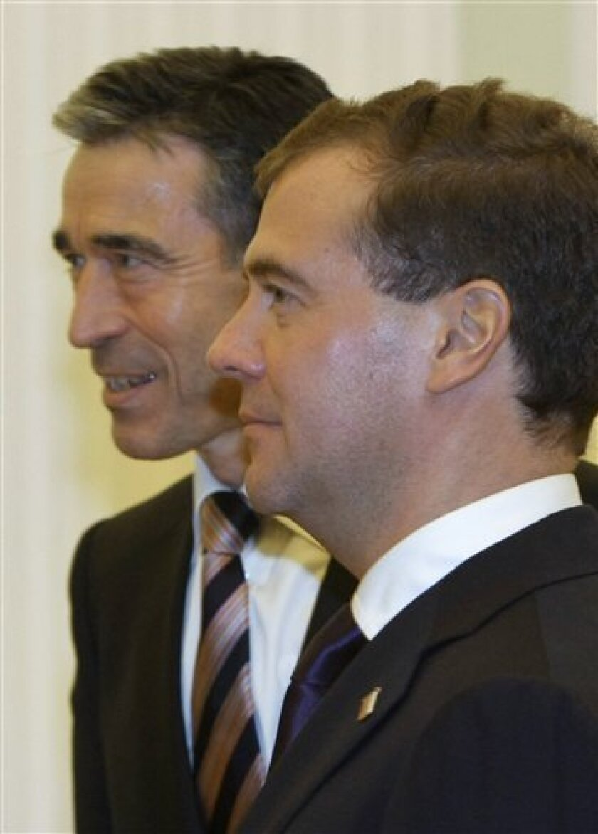Russian President Dmitry Medvedev, right, and NATO Chief Anders Fogh Rasmussen seen during their meeting in the Kremlin in Moscow, Russia, Wednesday, Nov. 3, 2010. (AP Photo/RIA Novosti, Vladimir Rodionov, Presidential Press Service, Pool)