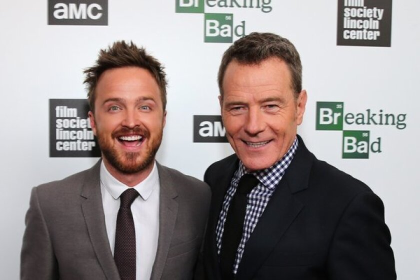 """Actors Aaron Paul and Bryan Cranston attends The Film Society of Lincoln Center and AMC Celebration of """"Breaking Bad"""" final episodes at The Film Society of Lincoln Center, Walter Reade Theatre in New York City."""