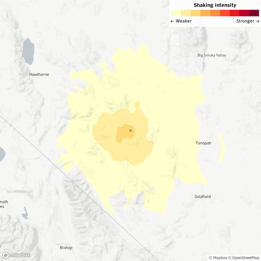 Friday morning's earthquake struck 111 miles from Carson City, Nev.