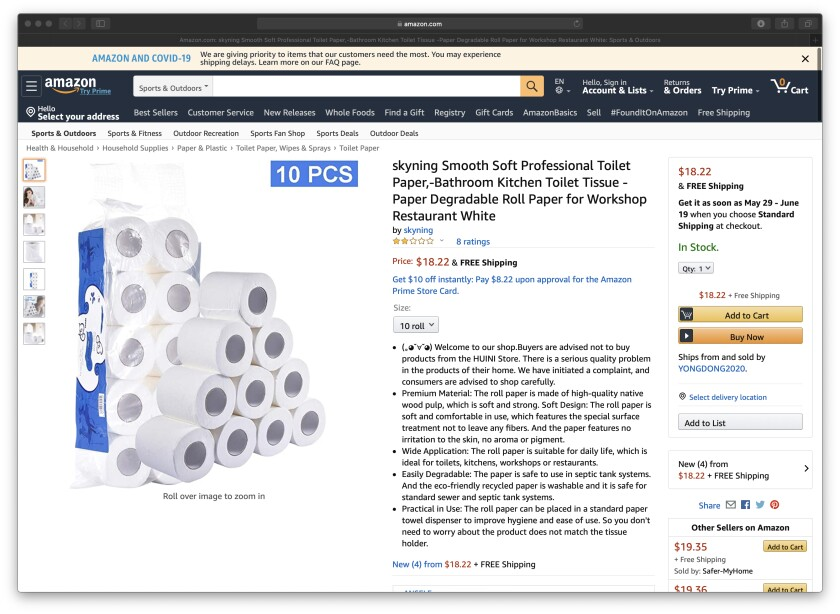 This Amazon.com screen grab, made April 9, shows toilet paper purchased by Beth Franssen.