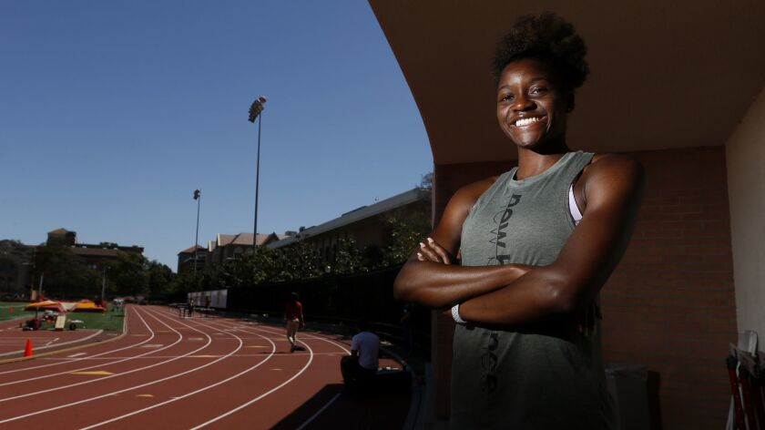 Kendall Ellis trains at Katherine B. Loker track stadium on the USC campus. Ellis will be competing at the Mt. SAC Relays on Saturday.