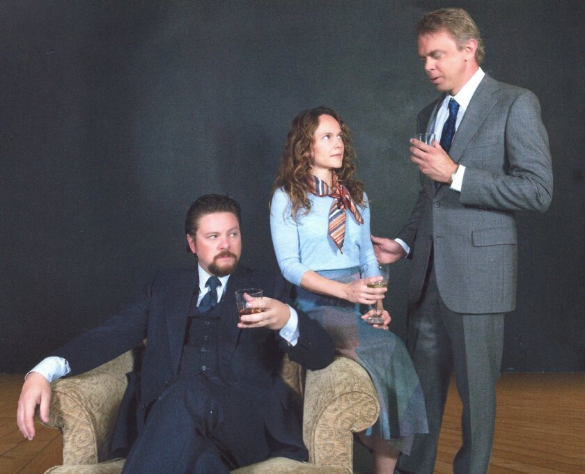Robert (Richard Baird), Emma (Carla Harting) and Jerry (Jeffrey Farcé) in Harold Pinter's 'Betrayal' at North Coast Repertory Theatre