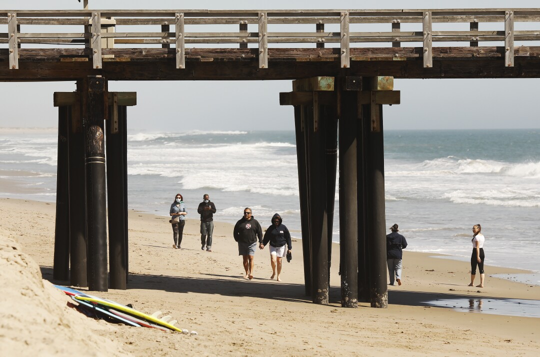 At the beach in Port Hueneme on Wednesday.