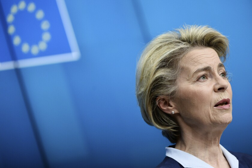 European Commission President Ursula von der Leyen speaks during a media conference at the end of an EU summit in Brussels, Friday, Feb. 26, 2021. NATO Secretary General Jens Stoltenberg joined a videoconference with EU leaders on Friday, to focus on ways to boost cooperation and avoid doubling up on security issues between the military alliance and the 27-nation bloc. (Johanna Geron, Pool via AP)