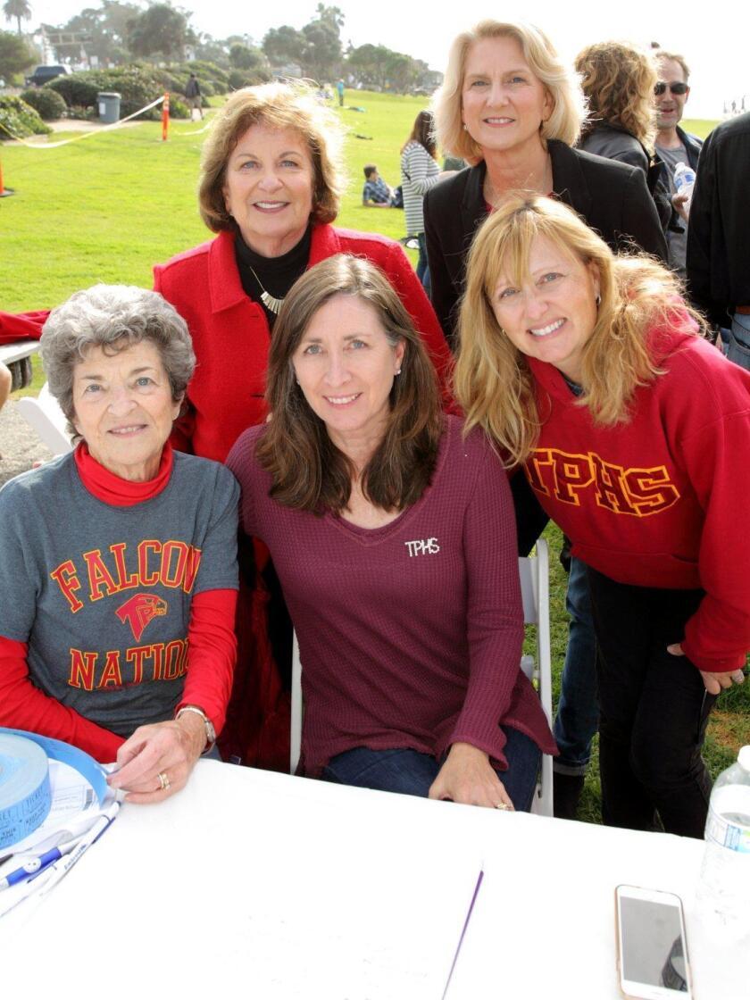Front row: Scholarship committee members Susan Pfleeger, Karin Lang, and Laura Farjood. Back row: School board members Joyce Dalessandro and Amy Herman
