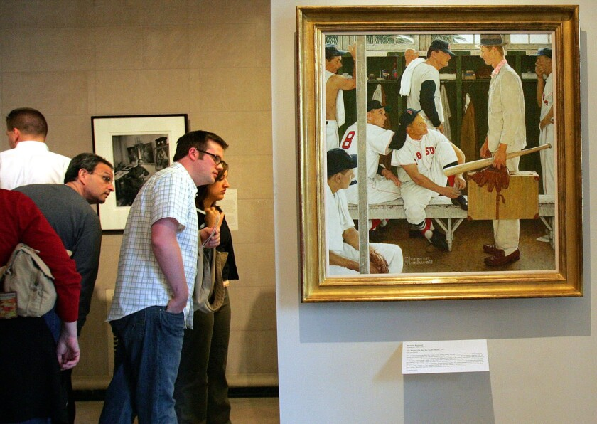 """Norman Rockwell's """"The Rookie"""" sold for $22.6 million at a Christie's auction."""
