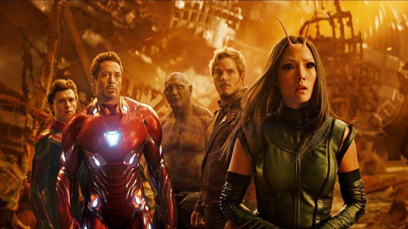 "Spider-Man (Tom Holland), Iron Man (Robert Downey Jr.), Drax (Dave Bautista), Star-Lord (Chris Pratt) and Mantis (Pom Klementieff) in ""Avengers: Infinity War"""