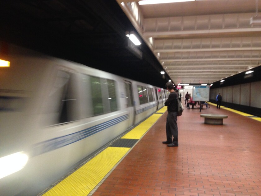 A BART train enters the Berkeley station.