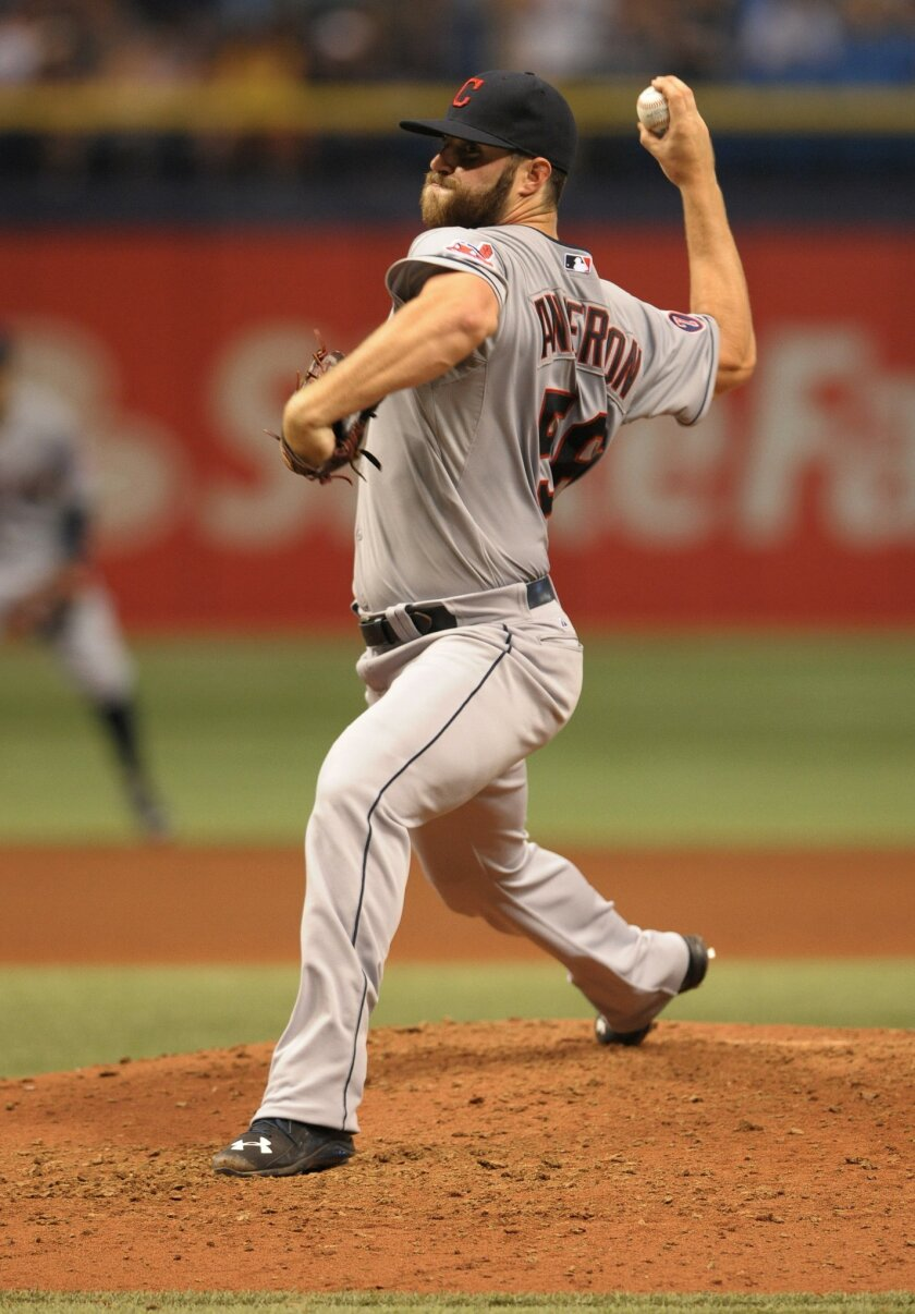 Cleveland Indians starter Cody Anderson pitches against the Tampa Bay Rays during the sixth inning of a baseball game Monday, June 29, 2015, in St. Petersburg, Fla. (AP Photo/Steve Nesius)