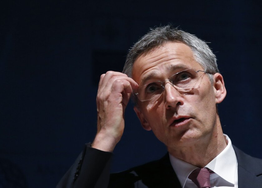 Secretary General of NATO, Jens Stoltenberg addresses the media following the NATO Foreign Ministers' conference in Antalya, Turkey, Thursday, May 14, 2015. The NATO ministers had gathered for two days in the southern Turkish city to plot strategy amid the continued crisis in Ukraine and instabilit