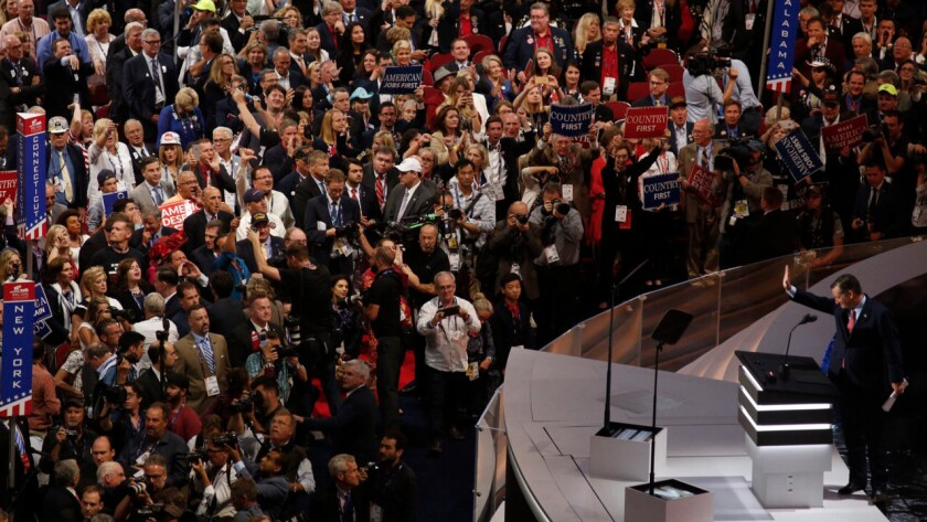 Sen. Ted Cruz greets the audience on the third day of the Republican National Convention.
