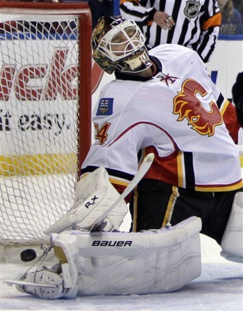 Calgary Flames goalie Miikka Kiprusoff, of Finland, leans backward as the puck slips past for a goal by St. Louis Blues' David Backes during the second period of an NHL hockey game Friday, April 1, 2011, in St. Louis. (AP Photo/Jeff Roberson)