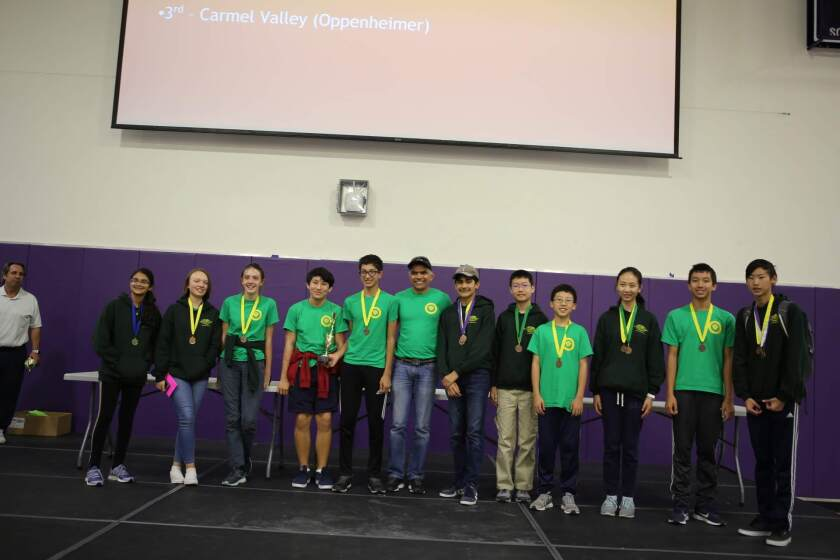 The third place winning Oppenheimer team from Carmel Valley Middle.
